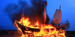 Image result for burning boat
